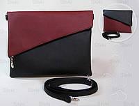 """Женская сумка """"Тиффани""""  09  бордово-черная, фото 1"""