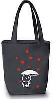 """Женская сумка - """"Дождь из сердечек"""" Б51 - серая, фото 1"""