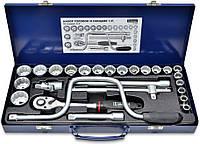 "Набір головок 1/2"" (10-32 мм), з воротком ""кобра"", Cr-V 26 предметов в металлическом кейсе, код 752"