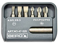 Набор насадок отверточных с магнитным держателем, S2, 25 мм 6шт., код 747-326