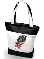 """Женская сумка -""""Девушка с вьющимися волосами"""" К96 (комбинированные ткани) черно-белая"""