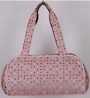 """Стеганая дутая сумка """"Аркадия"""" в горошек цвет розовый  RS"""