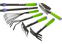 Набор инструмента садовый, совок, грабли веерные, рыхлитель, грабли 5 зубьев, мотыжка, комплект удли