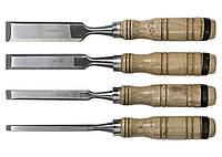 Набор долот-стамесок, 6-12-18-24 мм, плоских, деревянные рукоятки Sparta 242405