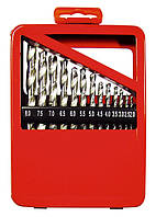 Набор сверл по металлу, 1-10 мм (через 0.5 мм), HSS, 19 шт., метал. коробка цил. хвостовик Matrix 72