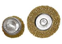 """Набор щеток для дрели, 2 шт., 1 плоская, 100 мм, + 1 """"чашка"""", 75 мм, со шпильками, мет. Matrix 74480"""