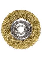 Щетка для УШМ, 150 мм, посадка 22,2 мм, плоская, латунированная витая проволока Matrix 74664