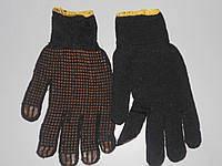 Перчатка 141 черная ПВХ син.точка желт.рез , код 2010