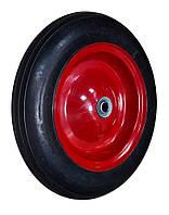 """Колесо с металлическим диском на литой резине для тачки 14"""", ось 16х60 мм, код 770-430"""