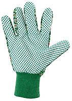 Перчатки садовые х/б ткань с ПВХ точкой, манжет, M PALISAD, код 67762