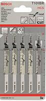 Пилочка для эл. лобзика, по дереву (чистый рез, обратный зуб) 101BR, 5 шт // BOSCH (шт.), код 21-302
