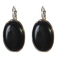 Серьги Агат черный гладкая оправа  овальный  камень Б 2,3*3,2см L-4см