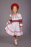 Яркое вышитое платье для девочки на длинный рукав