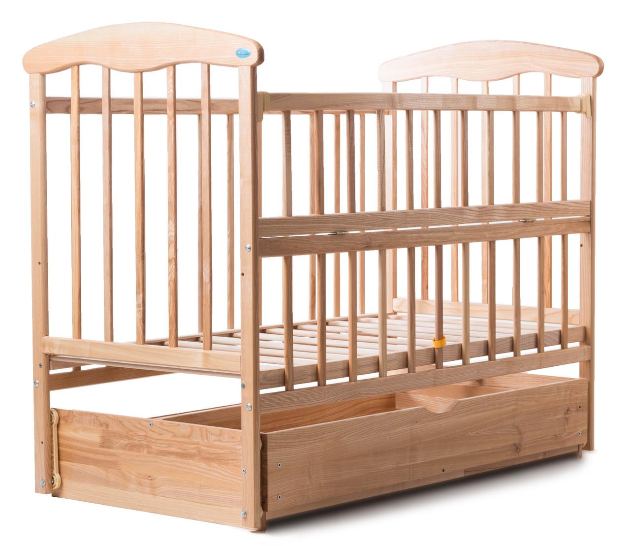 Детская кроватка - маятник Наталка с ящиком откидная боковинка светлая