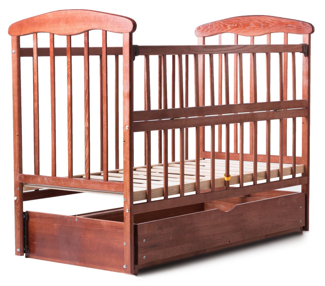 Детская кроватка - маятник Наталка с ящиком откидная боковинка темная