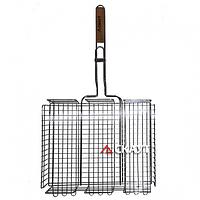 Решетка для гриля глубокая 30.5x23.5x5.5cm антипригарным покрытием и деревянной ручкой (СКАУТ 0740)