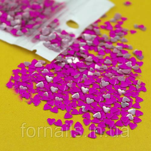 Заклепки для ногтей, сердца фиолетовые 50 шт
