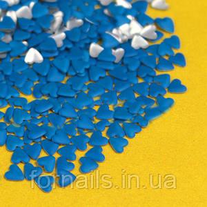 Заклепки для ногтей, сердца синие 50 шт