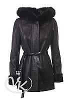 Черная дубленка из овчины с капюшоном женская