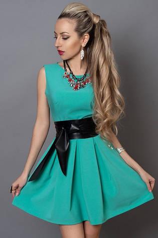 Молодежное платье голубая бирюза с кожаным поясом, фото 2