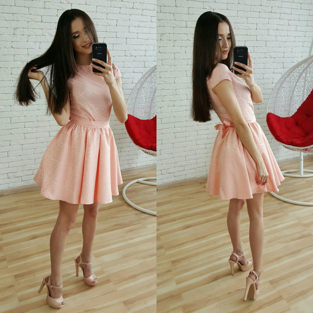 Элегантное вечернее платье с пышной юбкой и поясом. Розовый, голубой и  персиковый цвет - f96ccfe07cc