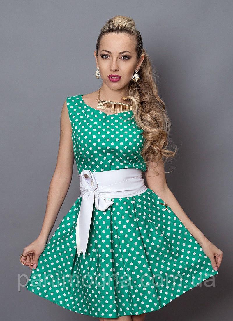 """Модное летнее платье в горох декорировано кожаным поясом  - """"Мелисcа""""  код 248"""