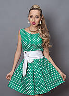 """Модное летнее платье в горох декорировано кожаным поясом  - """"Мелисcа""""  код 248, фото 1"""