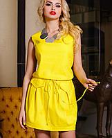 Льняное летнее платье | Албен jd желтый
