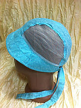 батистовая  панамка - косынка    для девочки   цвет голубой