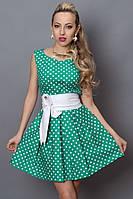 Летнее платье зеленое в белый горох