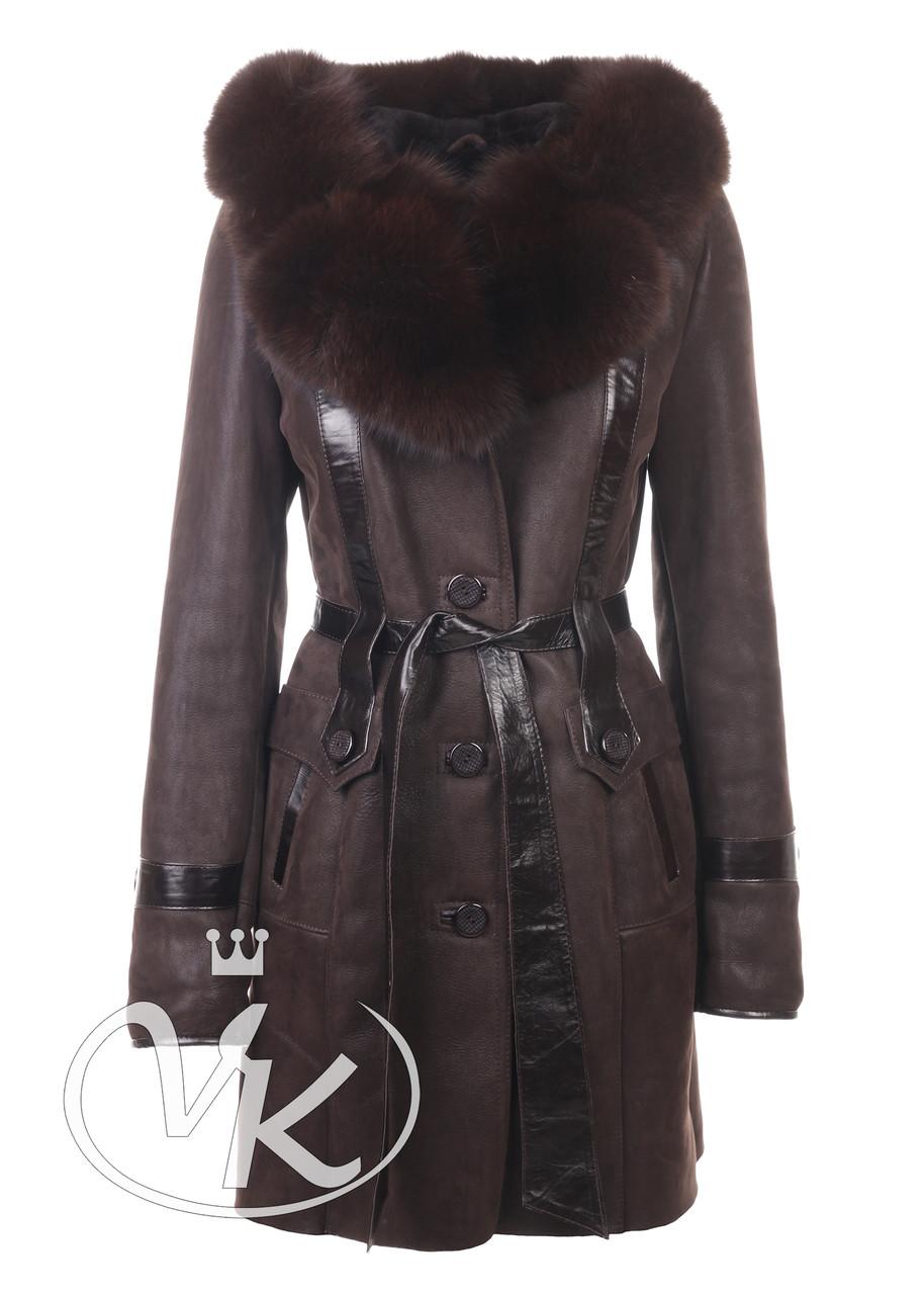 Дубленка с натуральным мехом длинная коричневая женская (Арт. SO121-2)