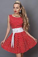 Красное летнее платье в белый горох