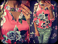 Летняя шелковая блуза 936