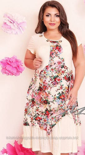Женское платье батал в 4 расцветках