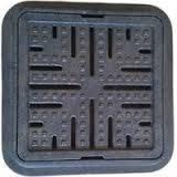 Люк квадратный дренажный Ромашка 260/380 (мини люк) черный
