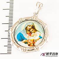 Кулон под серебро с цветным изображнием Девы Марии и молодого Иисуса