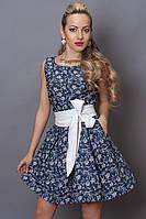 Платье мод 248 -4 размер 44,46,48 джинс бело-синий цветочек(А.Н.Г.)