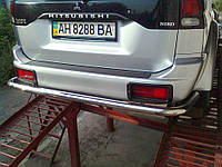 Защита заднего бампера на Pajero Sport