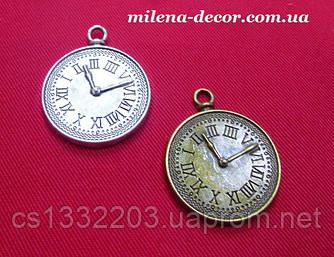 """Металлическая подвеска """"часы"""" цвет серебро"""