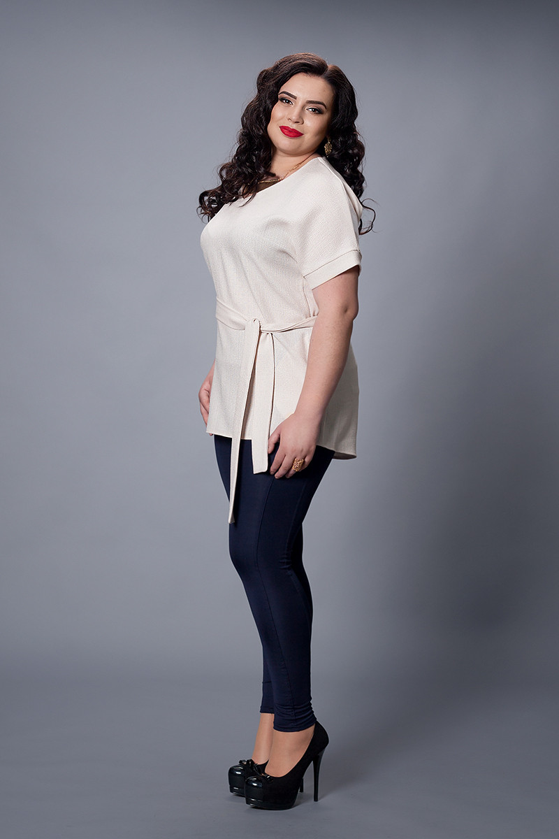 Блуза-туника  мод 499-1 размер 48-50,52-54 молочная
