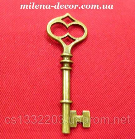 """Металлическая подвеска """"ключ большой"""" цвет бронза 6см"""