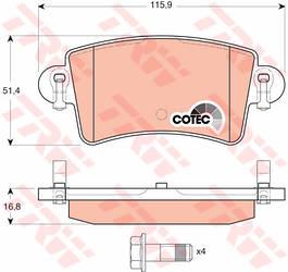 Дисковые тормозные колодки (задние) на Renault Master II  1998->2010 - TRW (США / Германия) — GDB1470