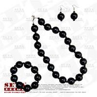 Бусы, серьги и браслет набор в чёрном цвете.