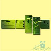 Модульная картина Зелёные колоски из 5 фрагментов, фото 1