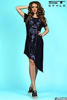 """Платье женское"""" Египетская кошка"""" с а- симметричным низом.Ткань вискоза.Цвет чёрн и серая. Размер 42-46.VM 057"""