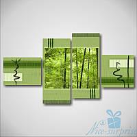 Модульная картина Зелёный бамбук из 4 фрагментов