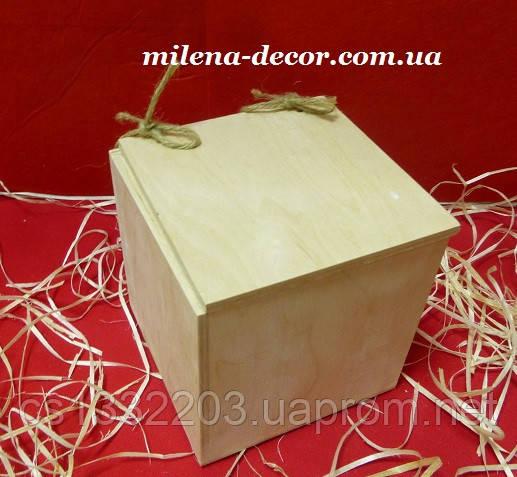 Короб с крышкой на бечевке 16*15.5*16см