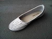 Балетки туфли женские кожаные летние белые 35 - 41 р, фото 1