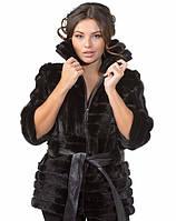 Полушубок чёрного цвета из норки в роспуск (комбинированный) с кожей 60 см, фото 1