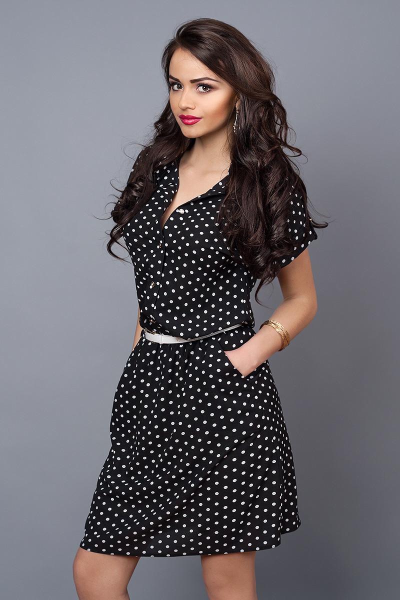 Платье мод 475-13,размер 50-52 черный горох